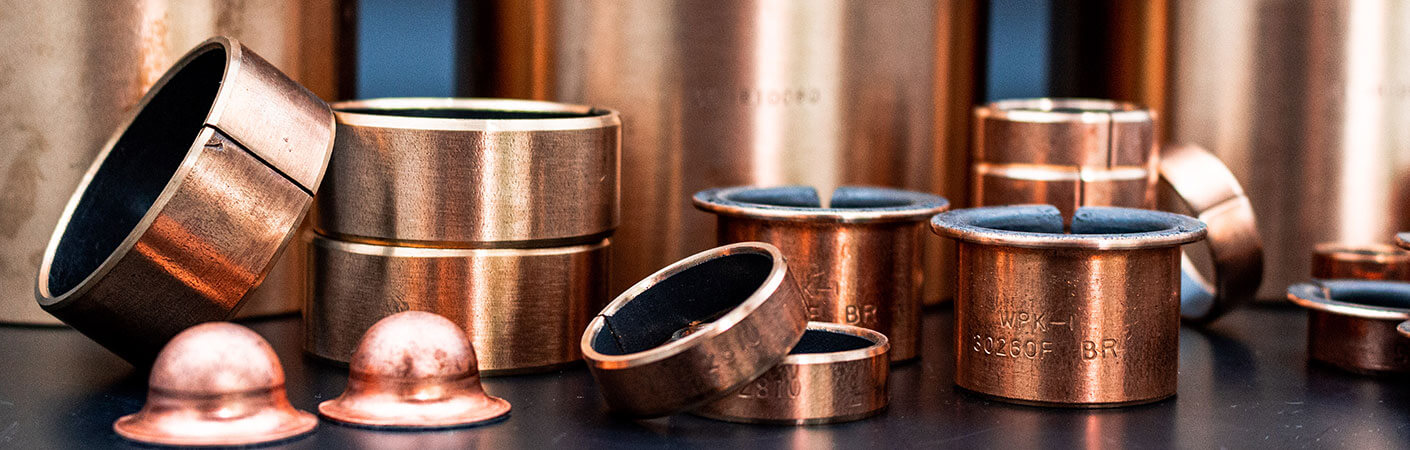 Gleitlager der WPK1-B-Serie in Form von Zylinderbuchsen, Bundbuchsen und Sondergrößen