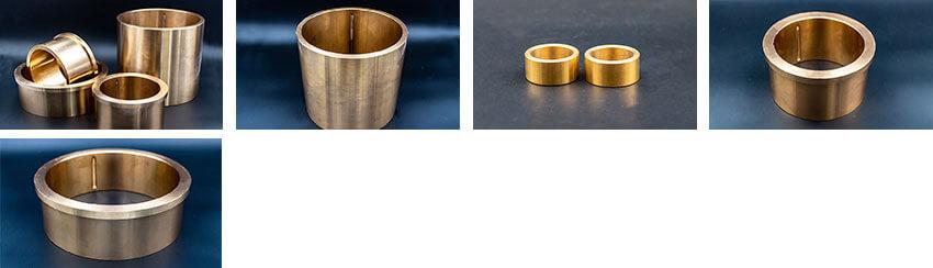 Auswahl an massiven Gleitlagern der WPK7-Serie aus Bronze mit Schmiernuten